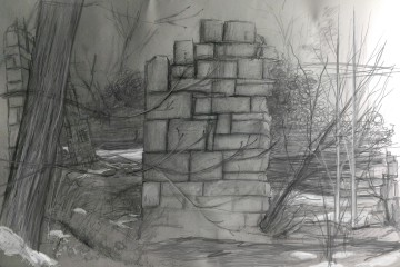 Old Mill Hastings Minnesota Spring 2015 pencil drawing