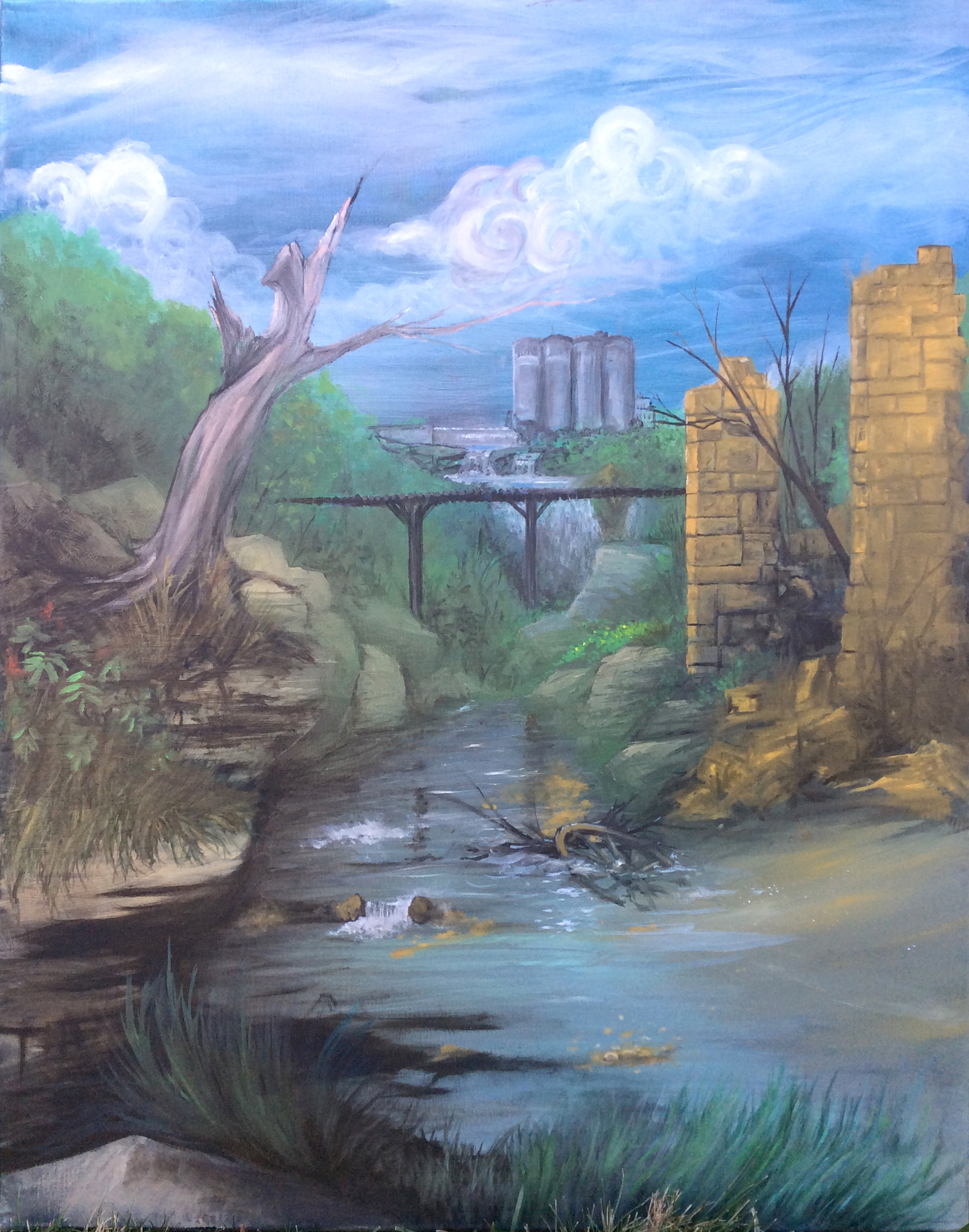 """The Old Mill in Hastings Minnesota oil 24"""" x 30"""""""