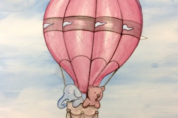 Darby the bear hot air balloon water color