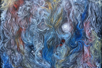 Abstract oil painting of spheres